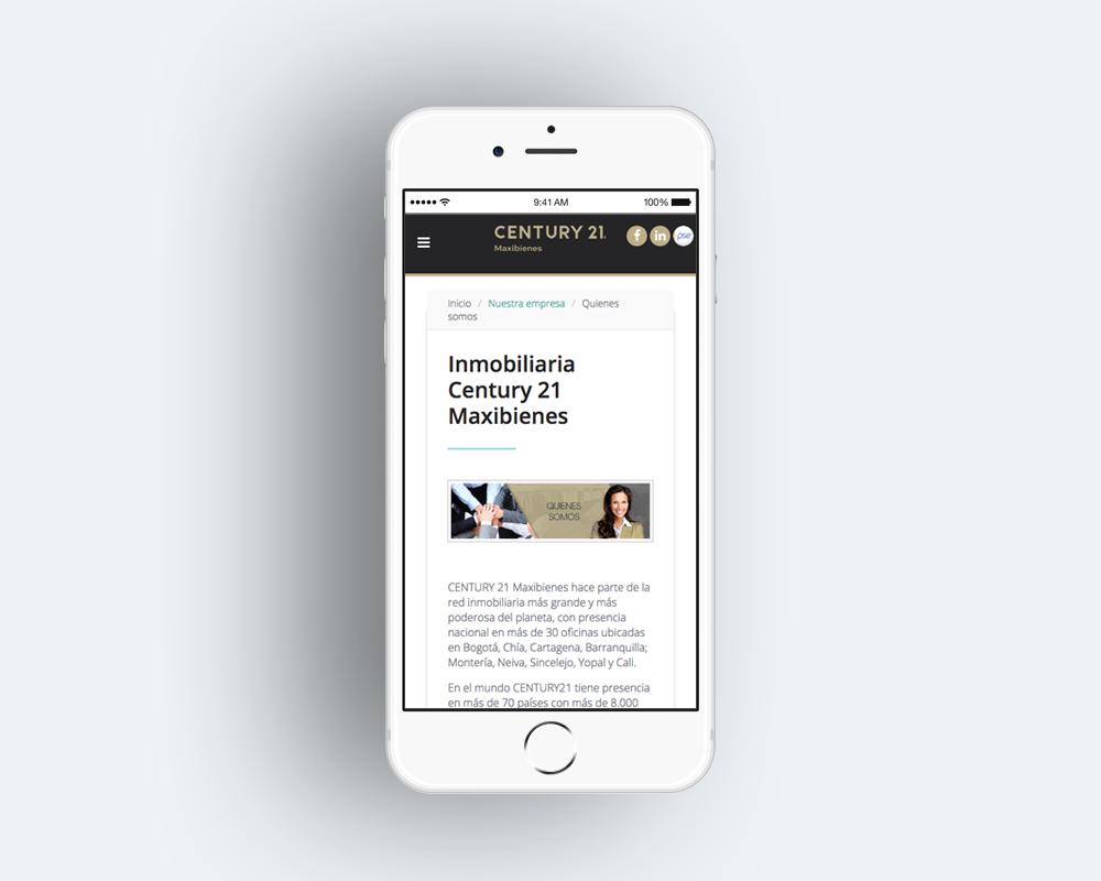sitio web diseñado para moviles